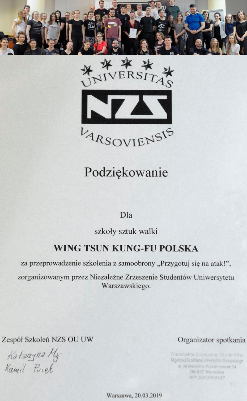 Wing Tsun Kung Fu Warszawa Białołęka Bemowo Bielany Praga Ursus Żoliborz - Szkolenie z samoobrony dla kobiet i mężczyzn na Uniwersytecie Warszawskim